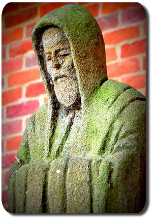 The statue of St Benedict that stands outside the monks' refectory at Douai Abbey